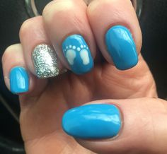 Baby shower nail art manicure baby boy