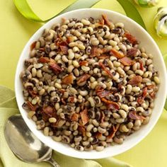 Black-Eyed Peas with Bacon Recipe from Taste of Home -- shared by Ruby Williams of Bogalusa, Louisiana