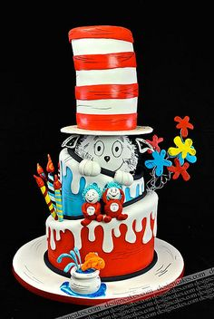 Cat in the hat cake - Dr. Seuss cake