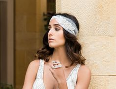 Helen & sienna bridal -30's headband- 30's inspired silk tulle LUXURY HEADBAND handmade  with sparkling Swarovski crystals and delicate bedded flower embroidery - Wedding jewelry