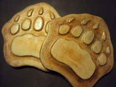Bear Paw Stepping Stones  PAIR Almost 12 by MountainArtCasting, $44.00