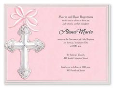 Silver Cross on Pink Baptism Invitations