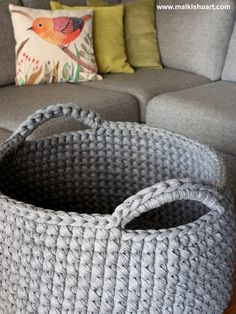 T Shirt yarn crochet basket A perfect storage solution :)