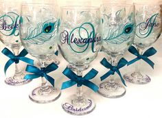 Hey, I found this really awesome Etsy listing at https://www.etsy.com/listing/224028087/1-peacock-personalized-wine-glasses