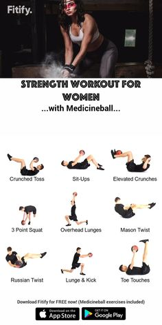 Full-Body Workout with Medicineball for Women - Dumbbell - Ideas of Dumbbell - Strong & Fit Full body training with a Medicineball Combination of upper body core and lower body strength… Fitness Tips, Fitness Motivation, Fitness Exercises, Workout Exercises, Yoga Fitness, Ab Workouts, Full Body Workouts, Fitness Plan, Dumbbell Workout