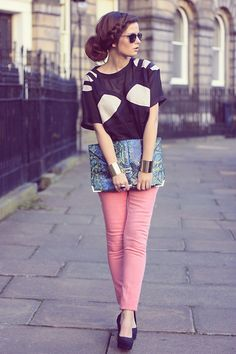 very cute. love the pink pants and braid w/ bun