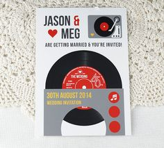 Wedding Vinyl Record Invitations with Magnets - Vintage Vinyl Record Design (Complete With Backing Postcards) x 40 Music Wedding Invitations, Wedding Party Invites, Vintage Invitations, Wedding Stationery, Party Invitations, Custom Printed Labels, Printing Labels, Mailing Envelopes, Vintage Vinyl Records