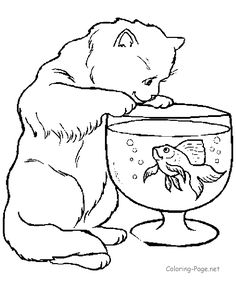 Printable animal coloring pages - Cat and Fish Bowl