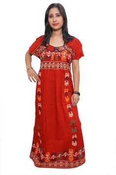 Indiatrendzs Women's Red Nighty Floral Printed Nighty Maxi Dress