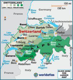Map of Switzerland. Neuchatel, Geneva, Lausanne, Bern, Basel, Zurich, St Gallen & Appenzelle / Santis, Lucerne, Locarno, Lugano + Liechtenstein.