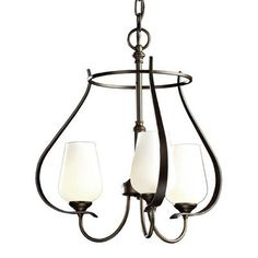Hubbardton Forge Flora 3 Light Shaded Chandelier Finish: Black, Glass Type: Opal Glass