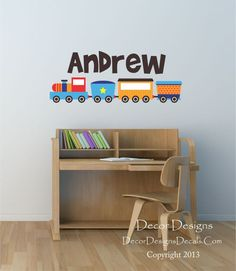 Custom Name Train Printed FabricVinyl Wall Decal Sticker