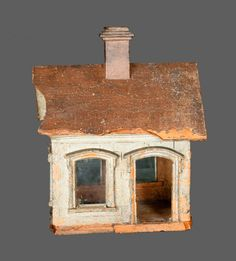 Extremely Rare Cold-Painted Stoneware House Figure with Blown Glass Windows
