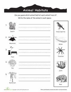 Worksheets: Animal Habitats for Kids