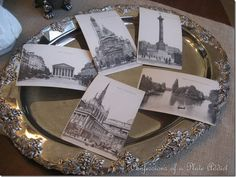 Scanned paris post cards for printing your own. Very cool from the plate addict blog
