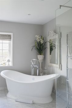 The volcanic limestone double-ended bath is large enough to accommodate Victoria and both children. The volcanic limestone double-ended bath is large enough to accommodate Victoria and both children. Gray Bathroom Walls, Light Grey Bathrooms, Dream Bathrooms, Beautiful Bathrooms, Luxury Bathrooms, Bathroom Bench, Ikea Bathroom, Master Bathrooms, Bathroom Colors