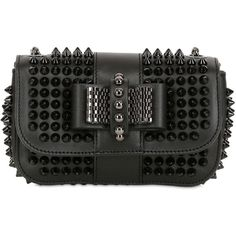Christian Louboutin Women Sweety Charity Spikes Leather Bag (7,210 CNY) ❤ liked on Polyvore featuring bags, handbags, shoulder bags, christian louboutin, clutches, black, christian louboutin handbags, chain strap purse, spiked purse and genuine leather shoulder bag