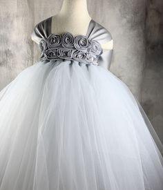 Grey Silver Flower girl dress Tutu dress by vivilovelytutudress