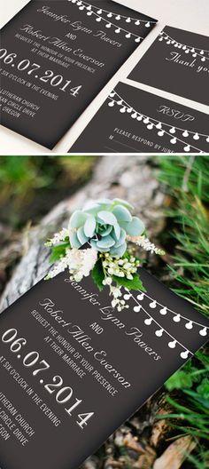 string lights inspired chalkboard rustic wedding invitations