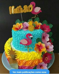 Hawaiian Birthday Cakes, Hawaii Birthday Party, Hawaiian Luau Party, 18th Birthday Party, Hawaiian Cakes, Luau Party Decorations, Luau Theme Party, Flamingo Cake, Flamingo Birthday