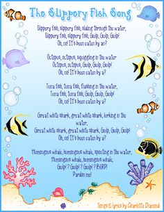 "Large group: Students will be able to sing and repeat ""the slippery fish"" song. They will develop fine motor coordination Kindergarten Songs, Preschool Music, Preschool Activities, Preschool Classroom, Beach Activities, Preschool Age, Beach Theme Preschool, Preschool Assessment, Montessori Elementary"
