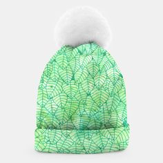 """""""Green foliage"""" Beanie by Savousepate on Live Heroes #clothing #apparel #accessory #green #foliage #leaves #nature #pattern #drawing #watercolor"""