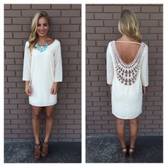 Cream Embroidered Baby Got Back Dress