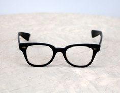 1950s black horn rim eyeglasses B&L Bausch and by vintagerunway