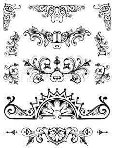 Ornament Set vector scrollwork hand engraving designs Royalty Free Stock Vector Art Illustration