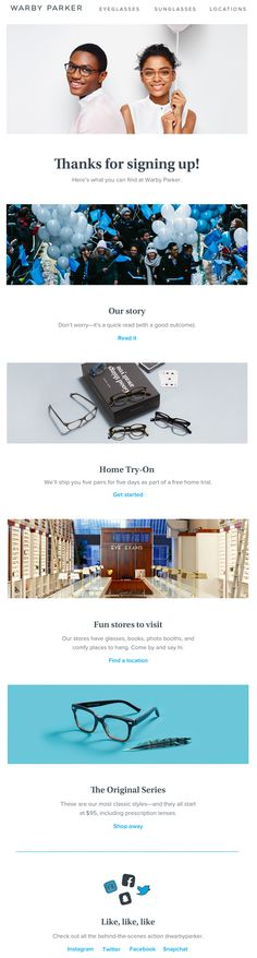 Warby Parker Welcome Email. Welcome, welcome, welcome
