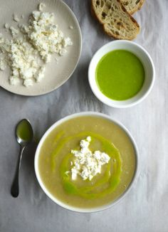 """""""Spring"""" Onion Soup with Scallion Oil & Feta - easy enough for a weeknight but impressive enough for a dinner party. #soup #glutenfree"""
