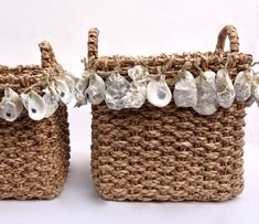 Oyster Shell Basket // Large by WeekendsDesign on Etsy