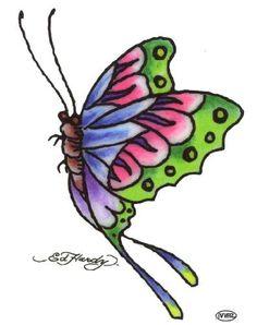 """Ed Hardy Butterfly Temporary Body Art Tattoos 3"""" x 4"""" Ed Hardy,http://www.amazon.com/dp/B00A13BC4Y/ref=cm_sw_r_pi_dp_WWwRqb1JZVBEB24Y #tattoos #bodyart #edhardy"""