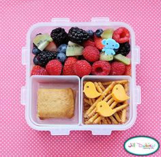 meet the dubiens;  This colourful little bento was for Kirsten's morning nutrition break. She had some fruit salad with a cute little elephant pick, a cereal bar, and some pretzel sticks with cute little cheese birdies.