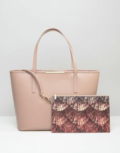 88a14eb9ea9d Ted Baker Crosshatch Tote Bag With Printed Pouch