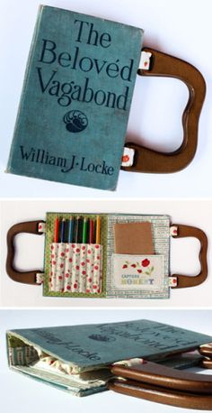 I want a book purse. This is an activity book purse, but I want an everyday one.what classic book? Diy Recycled Books, Upcycled Crafts, Upcycled Vintage, Diy Vintage Books, Vintage Library, Repurposed Items, Antique Books, Vintage Stuff, Unique Vintage