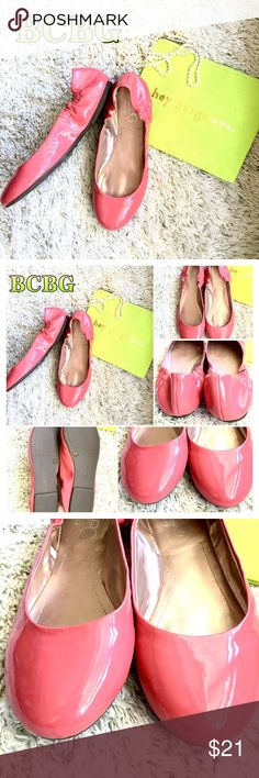 Adorbs BCBG coral patent flats, sz 10w, New? Had to re-Posh these - love them, but I'm a true 9.5 so they were too big. So many higher end lines run so ridiculously small that I'm often buying a 10.5-11; I incorrectly assumed these were similar sizing. Def a true-to-size brand. I do not think previous owner wore at all, the soles look unworn and new. No scuffs in leather. BCBG Shoes Flats & Loafers