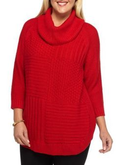 New Directions  Plus Size Mix Stitch Cowl Neck Sweater