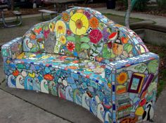 A Jug Of Wine, A Loaf Of Bread, And Virtual Thou • luxuriousmusings:   A pretty mosaic bench in...