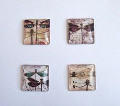 4 Handmade Dragonfly Design Domed Glass Picture Cabochons-25mm Square