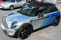 MINI Cooper convertible vinyl wrapped in printed mirror chrome car wrap