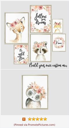 #yrsalka Choose your WOODLAND!  Floral Woodland animals nursery Boho girl art print Giclee animal creatures Forest friends Little girl bedroom wall decor Enchanted forest #woodlandnursery #forestnursery #bohonursery #woodlandanimals