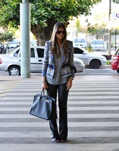 pattern blazer + leather pant