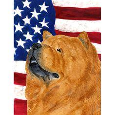 Caroline's Treasures USA American Flag with Chow Chow House Vertical Flag