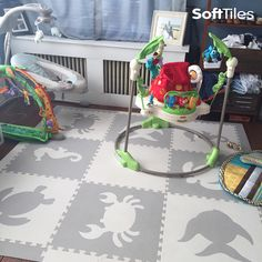 SoftTiles Sea Animals in Light Gray and White is a neutral color children's play mat that is ideal for creating a cushioned play area in any space. Soft for babies learning to crawl and toddlers learning to walk.