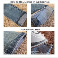How to Hem a Pair of Jeans Saving the Original Hem - Sewing Project | The Homestead Survival.  I can't totally do this, but I can show it to my tailor!  ;)