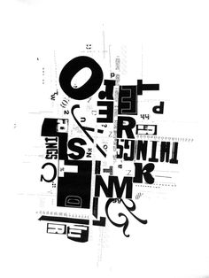 Sarah Phillips. Typography collage created in the Typographie: Bases given by Judith Poirier at l'UQAM.