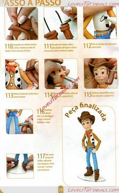Woody from Toy Story characters figure making tutorials - Cake Decorating Tutorials (How To's) Toy Story Cake Toppers, Toy Story Cakes, Cake Topper Tutorial, Fondant Tutorial, Toy Story Birthday, Toy Story Party, Fondant Figures, Bolos Toy Story, Woody Cake