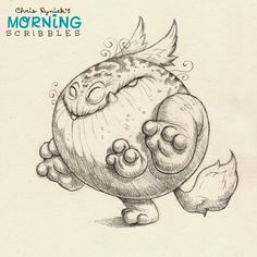Fitness! #morningscribbles Kawaii! Cute monster critter doodles Chris Ryniak http://chrisryniak.com/