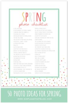 Spring Photo Inspiration and Printable photo checklist - 50 Photo Ideas for Spring.